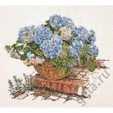 Набор для вышивания Голубые Гортензии, канва аида 16 ct