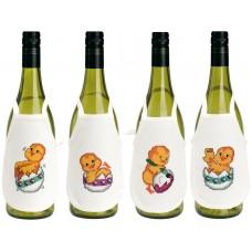 Фартучки на бутылки Цыплята,набор для вышивания 4 шт