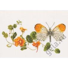 Набор для вышивания Бабочка-настурция, канва лён 36 ct