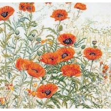 Набор для вышивания Оранжевые маки, канва лён 32 ct