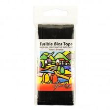 Косая бейка для пэчворка с клеевой основой, 6 мм, цвет черный