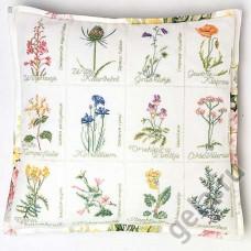 Набор для вышивания, подушка Полевые цветы, канва аида 16 ct