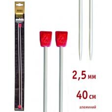 Спицы, прямые, алюминий, с пластиковым наконечником, №2,5, 40 см. 2 шт