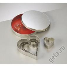 Набор металлических формочек Сердечки, диаметр 11 см