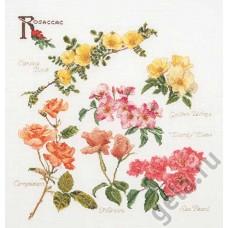 Набор для вышивания Группа цветов розы, канва лён 32 ct