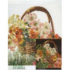 Набор для вышивания Цветочная корзина, канва аида (черная) 18 ct