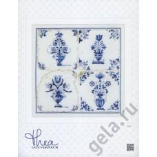 Набор для вышивания Старинная плитка, цветы в вазе, канва лён 36 ct