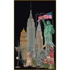 Набор для вышивания Нью Йорк, канва аида (черная) 18 ct