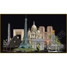 Набор для вышивания Париж, канва аида (черная) 18 ct