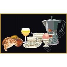 Набор для вышивания Утренний кофе, канва аида (черная) 18 ct