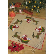 Коврик под ёлку Санта в санях, набор для вышивания Коврик кв
