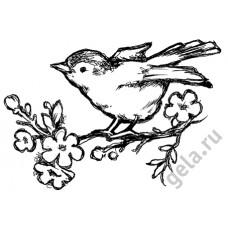Деревянный штамп Птичка