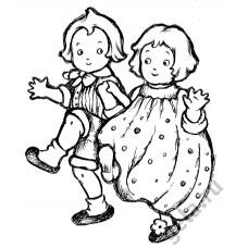 Деревянный штамп Дети