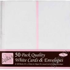 Набор заготовок для открыток с конвертами 50 шт