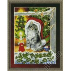 Набор для вышивания Рождественский котёнок