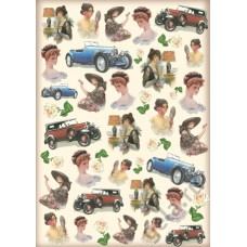 Карта для декупажа Леди и авто