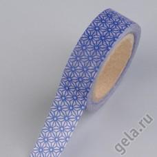 Бумажная декоративная клеевая лента розовая с синим орнаментом