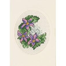 Открытка Клематис, набор для вышивания
