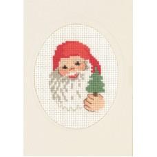 Открытка Санта с колокольчиком, набор для вышивания
