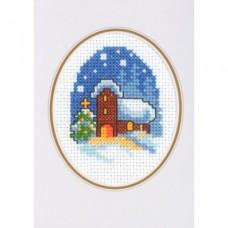 Открытка Рождественский вечер, набор для вышивания