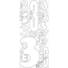 Наклейки контурные Цифры с №3  ( цена за блистер)