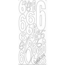 Наклейки контурные Цифры с №6  ( цена за блистер)