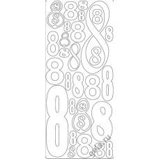 Наклейки контурные Цифры с №8  ( цена за блистер)
