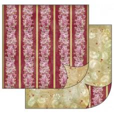 Бумага двухсторонняя для скрапбукинга Цветы. Бордюр