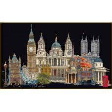 Набор для вышивания Лондон, канва аида (черная) 18 ct