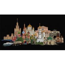 Набор для вышивания Москва, канва аида (черная) 18 ct