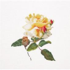 Набор для вышивания Цветение белой розы, канва лён 36 ct