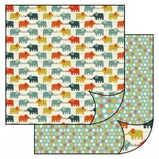 Бумага двухсторонняя для скрапбукинга Слоны в стиле ретро
