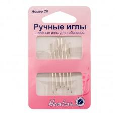 Иглы ручные для вышивания с закругленны кончиком №20, 6 шт