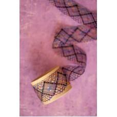 Мерсеризованное хлопковое кружево, 50 мм, цвет сиренево-серо-желто-розовый с черным