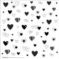 Лист пластиковый для скрапбукинга с нанесенным рисунком Сердца