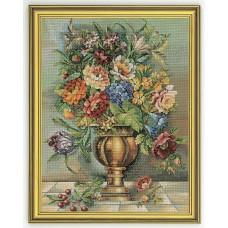Набор для вышивания Цветы в бронзовой вазе, лён 18 ct