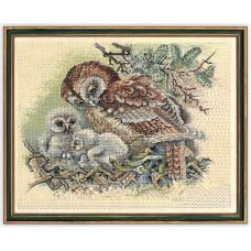 Набор для вышивания Сова и птенцы, лён 26 ct