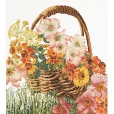 Набор для вышивания Цветочная корзина, канва лён 36 ct