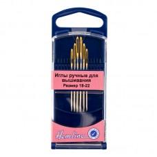 Иглы для вышивания с закруглённым кончиком в пластиковом контейнере №18 - 22, 6шт