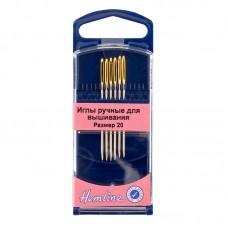 Иглы для вышивания с закруглённым кончиком в пластиковом контейнере №20, 6шт
