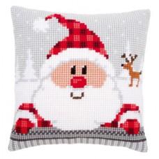 Подушка Санта в клетчатой шапке набор для вышивания