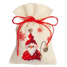 Мешочек набор для вышивания Санта с фонариком