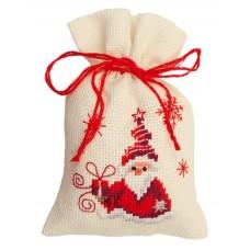 Мешочек набор для вышивания Санта с подарком
