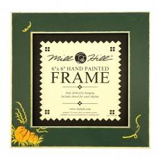 Рамка деревянная Тыквы цвет зеленый матовый с ручной росписью
