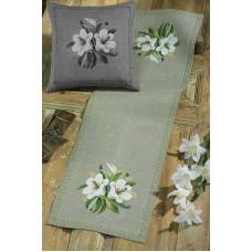 Дорожка Белые цветы набор для вышивания