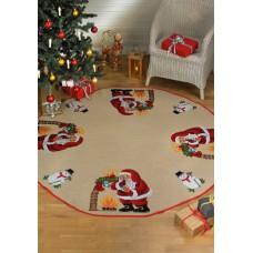 Коврик под ёлку Санта Клаус у камина, набор для вышивания