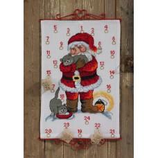 Набор для вышивания, календарь Санта с котами