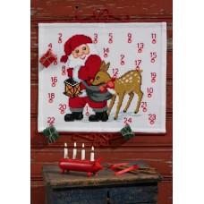 Набор для вышивания, календарь Санта Клаус с оленем