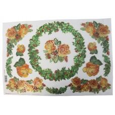 Бумага рисовая с контурным золочением Венки и розы