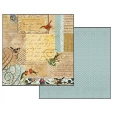 Бумага двухсторонняя для скрапбукинга Письма и маленькие птицы